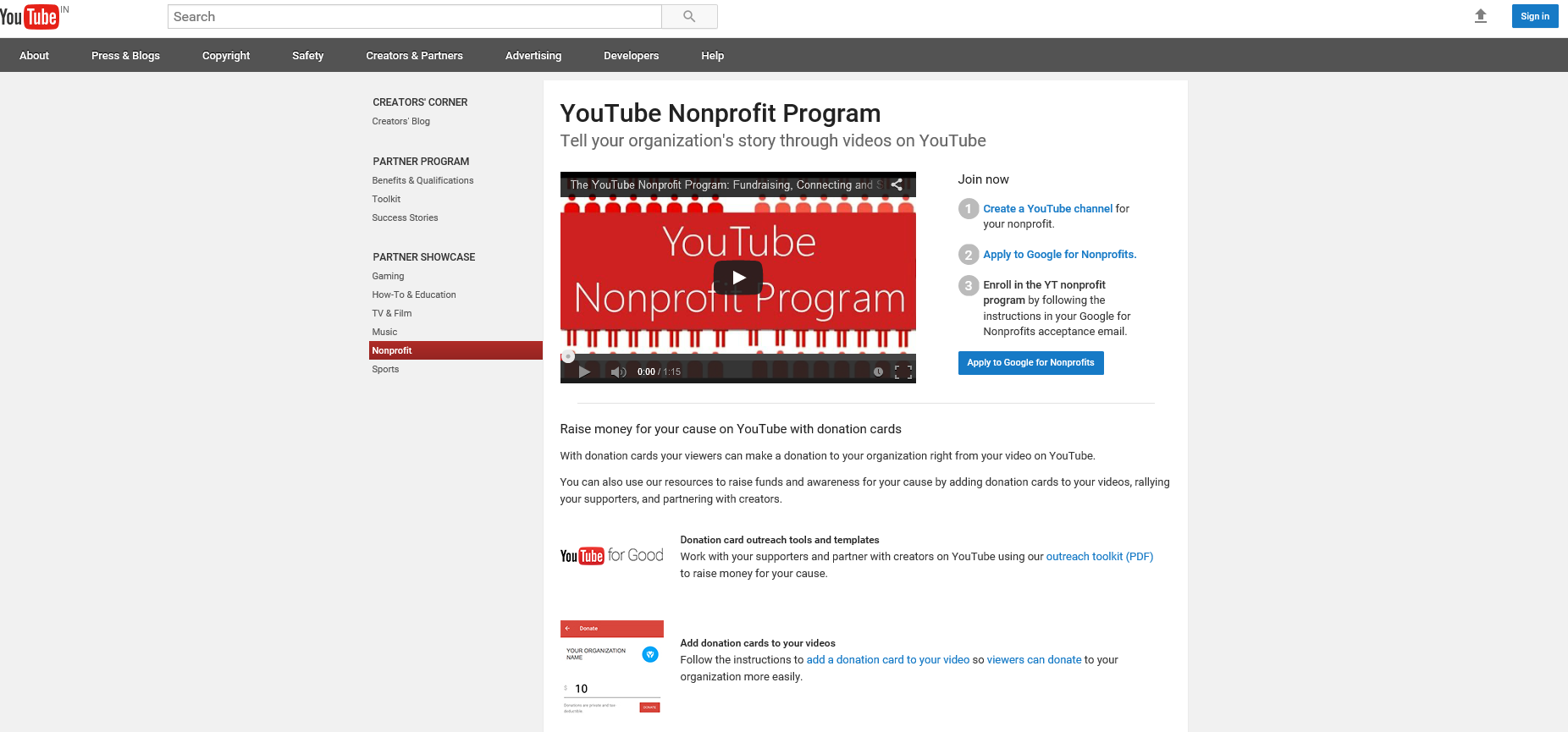 You Tube Nonprofit Program